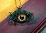 Wire Wrap - Evil Eye Dragon Green Gold Bronze