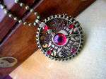 Steampunk Clockwork Gear Pendant - Evil Eye 2