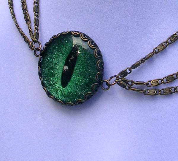 Evil Eye Dragon Eye Green Choker Necklace Chains 2 by LadyPirotessa