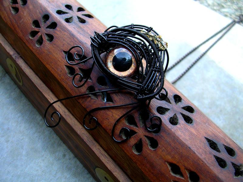 Wire - Dragon Evil Eye Pendant Pin - Copper Swirl by LadyPirotessa