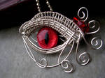 Wire Wrap - Red Egyptian Dragon Evil Eye 2