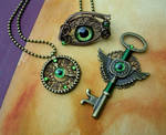Steampunk Bronze Green - Gear Clock Key Eye Set 1