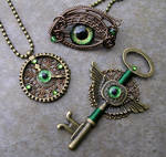 Steampunk Bronze Green - Gear Clock Key Eye Set 2