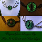 Elegance - Glow Green Dragon Evil Eye Charm Choker