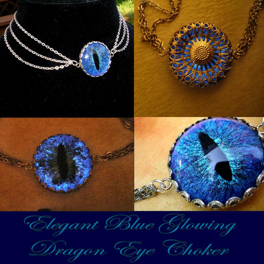 Elegance - Glow Blue Dragon Evil Eye Charm Choker by LadyPirotessa