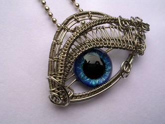 Glow Blue - Cerulean Silver Eye Pendant 2