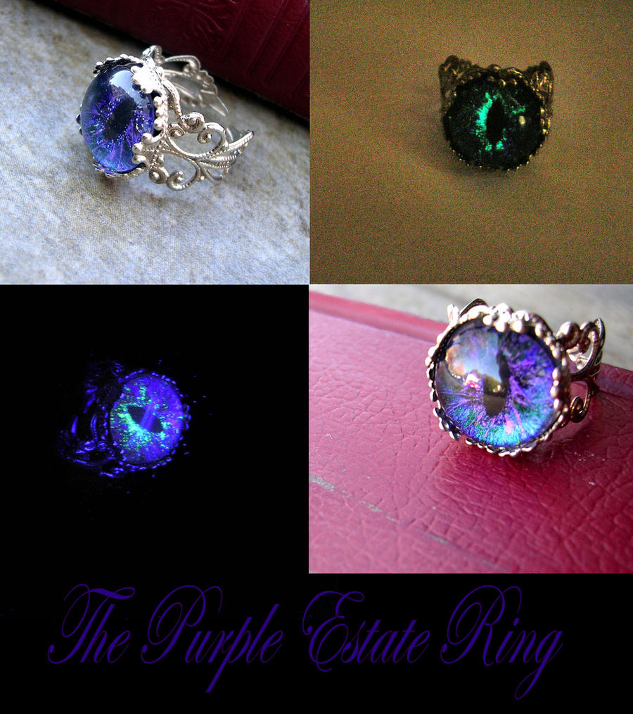 Purple Estate Ring - Glow In the Dark Blacklight by LadyPirotessa