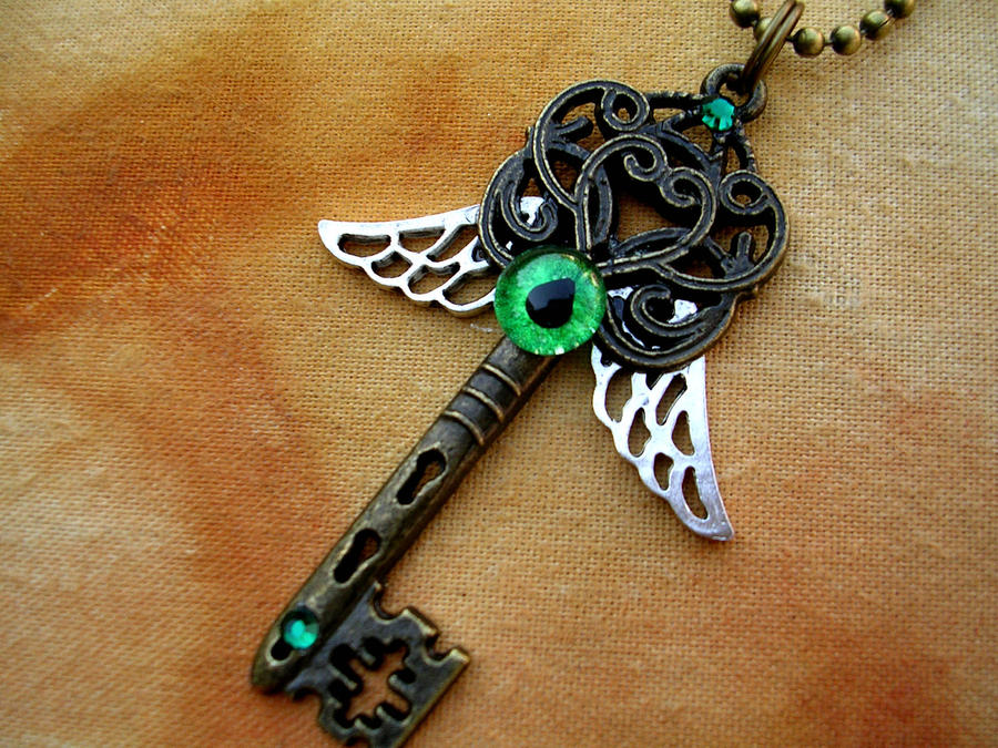 Winged Green Eye Key - Black Light Reactive by LadyPirotessa