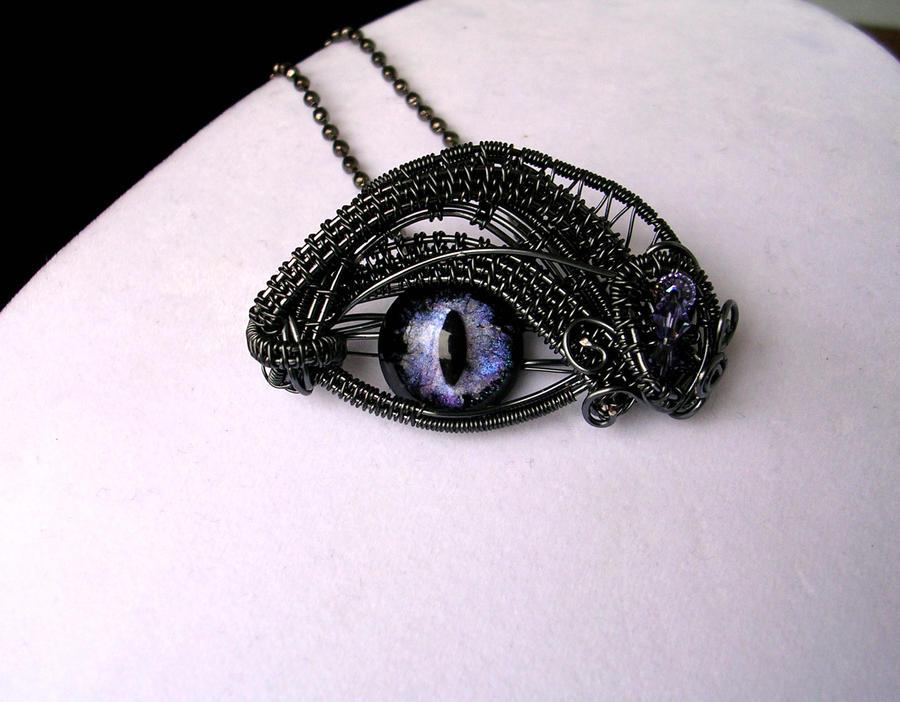 Violet Steampunk Dragon Eye in Aqua Glow 2 by LadyPirotessa