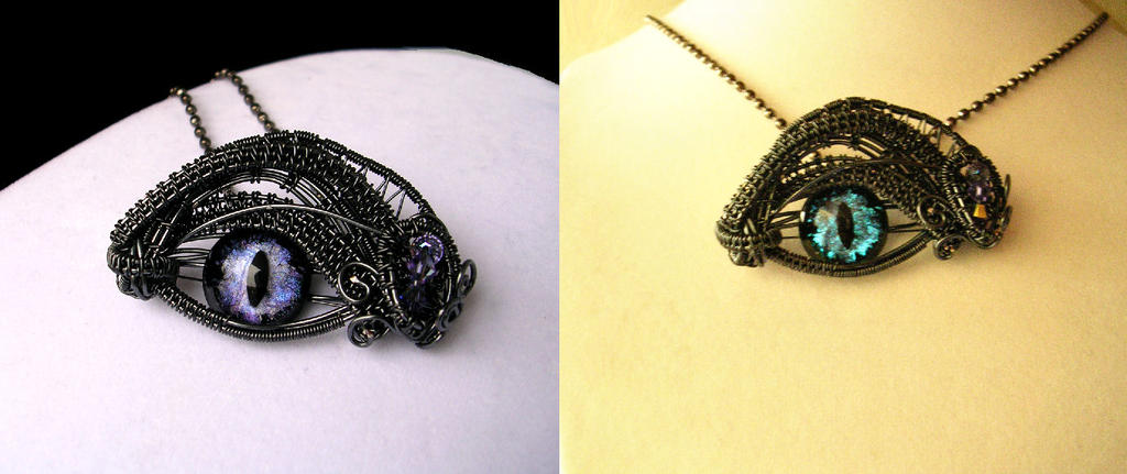 Violet Steampunk Dragon Eye Aqua Glow SideBySide by LadyPirotessa