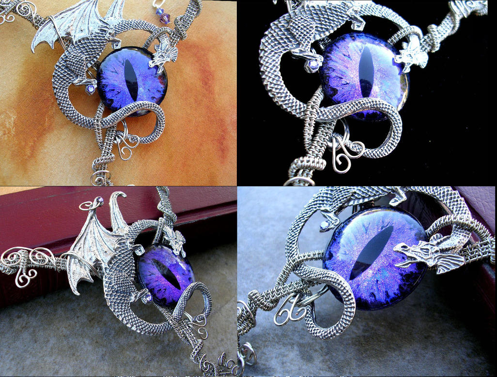 Dragon Purple color shift necklace by LadyPirotessa