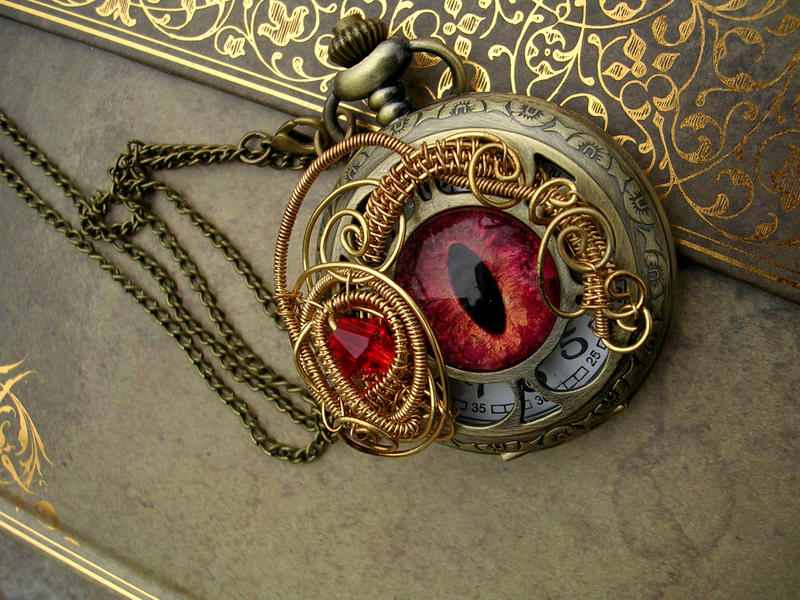 Fire Pocket Watch Brass Bronze Steampunk Tendril by LadyPirotessa