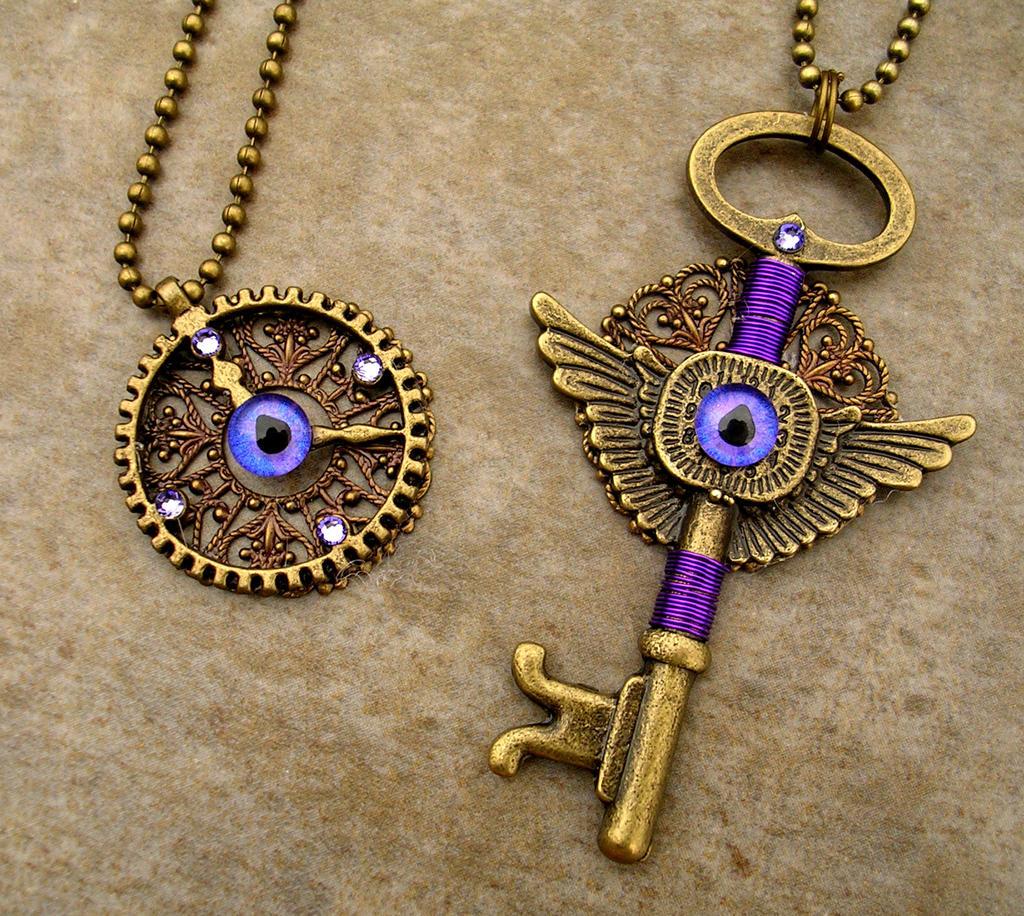 Romantic Purple Steampunk Set - Gear Heart Key by LadyPirotessa