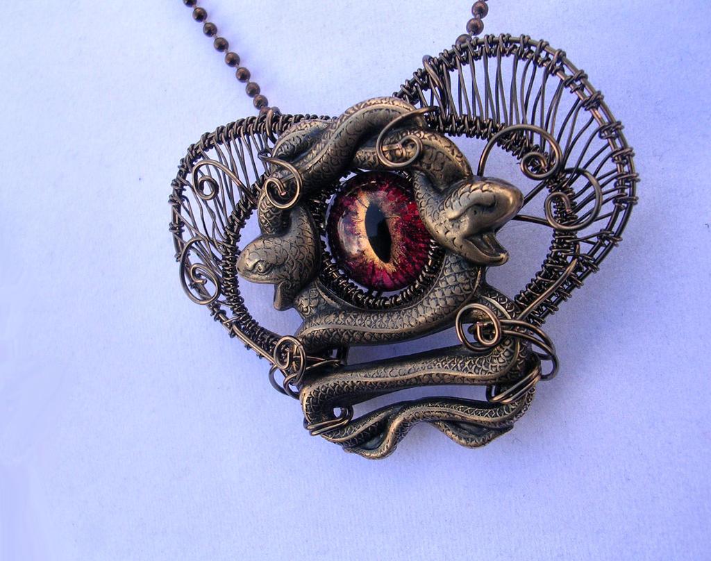 Medusa's Heart - Eye Brooch Pin Pendant by LadyPirotessa