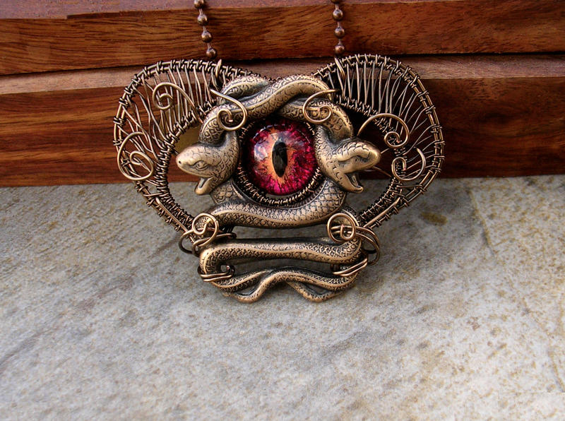 medusa 39 s heart eye brooch pin pendant 2 by ladypirotessa