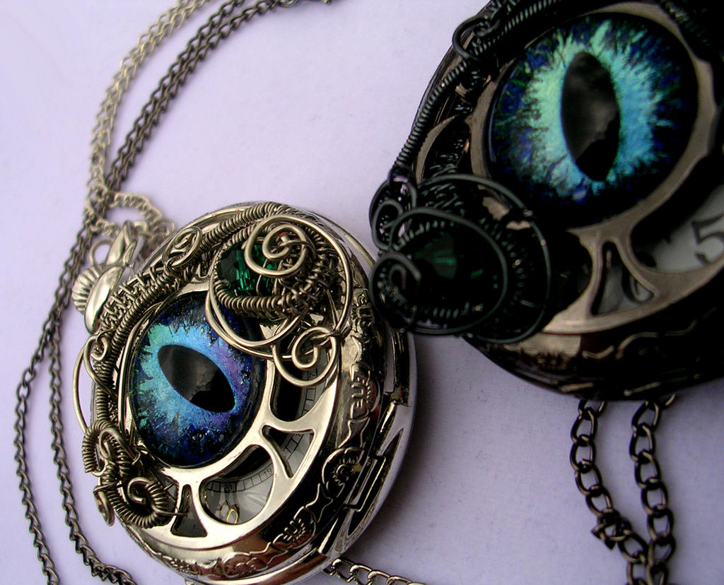 CUSTOM His and Her's Dragon Eye Watches by LadyPirotessa