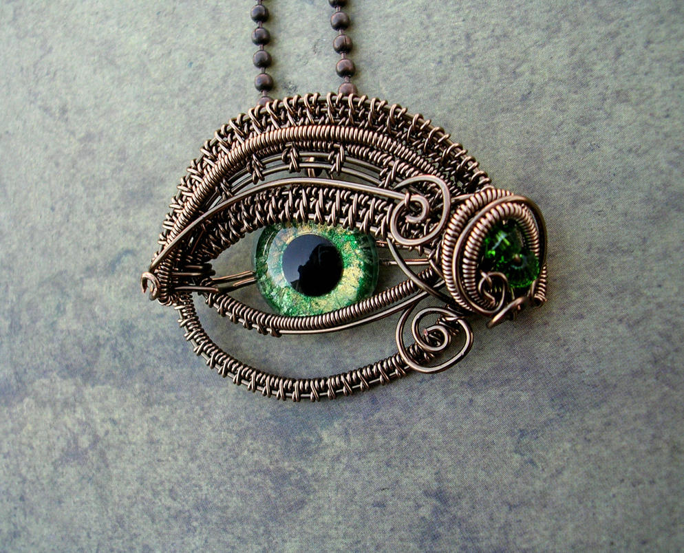 Glow Bronze Gold Green Nazar Eye by LadyPirotessa