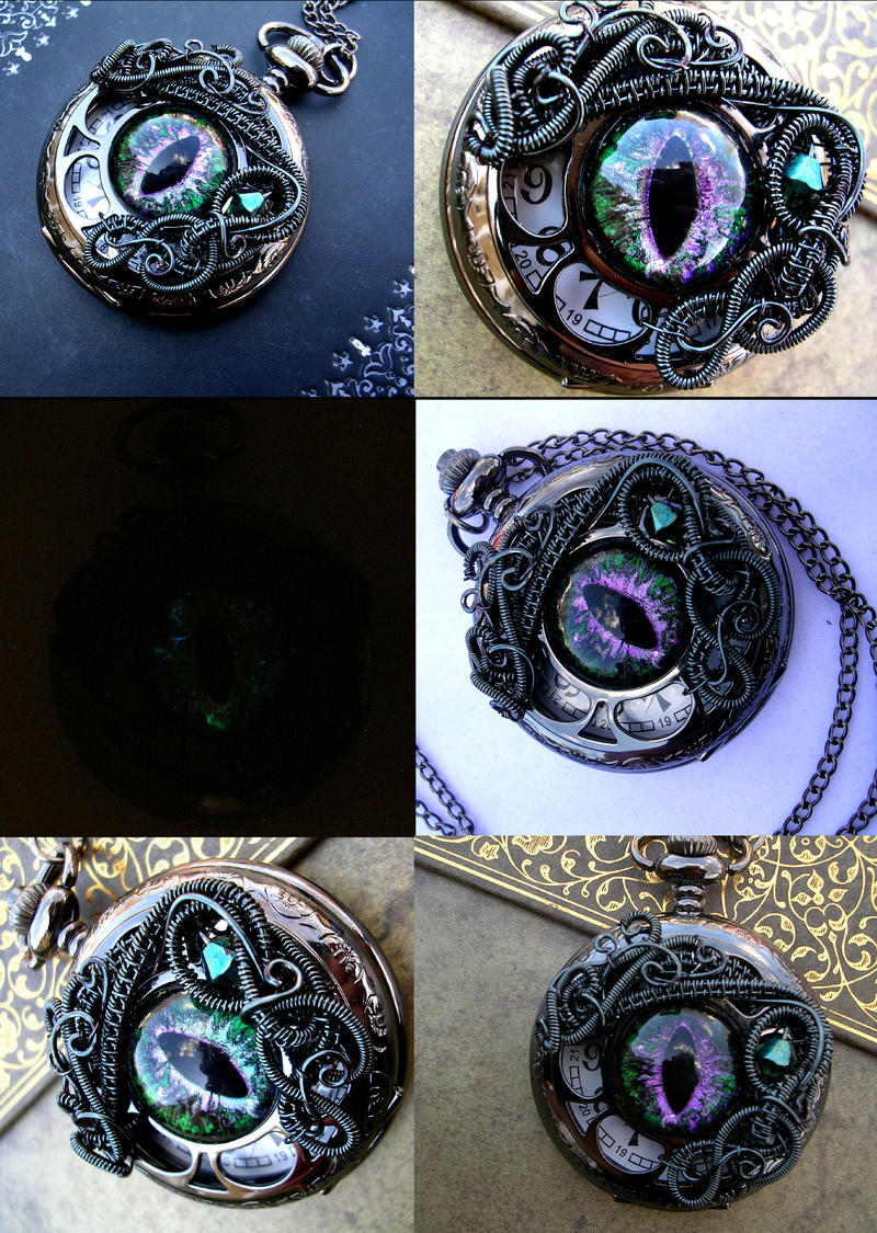 Green Purple Dragon Eye Watch - Colorshift by LadyPirotessa