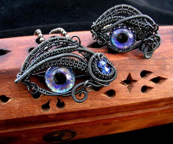 Nebula Dragon Eye Set - Ring Pendant by LadyPirotessa