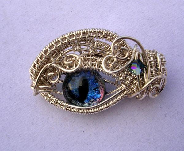 Baby Dragon Eye Choker Pendant Pin by LadyPirotessa