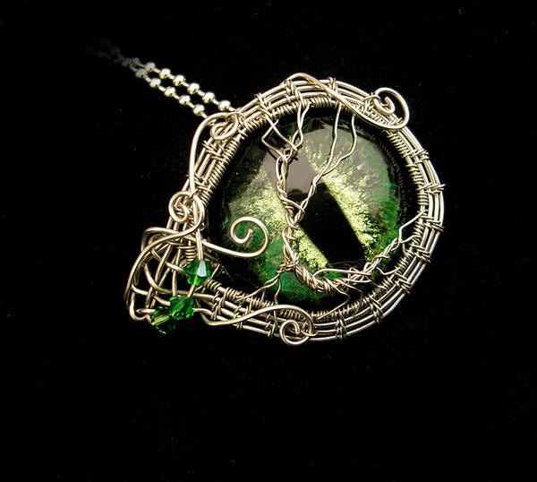 Tree Of Life - Elven Dryad Eye Brooch Pendant by LadyPirotessa