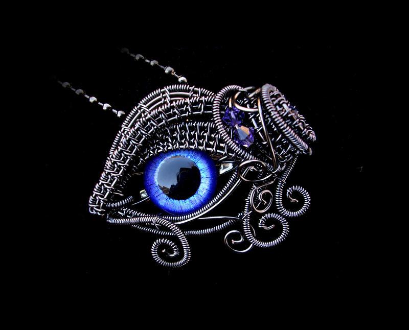 Purple Gunmetal - Violet Glow Eye Brooch Pendant by LadyPirotessa