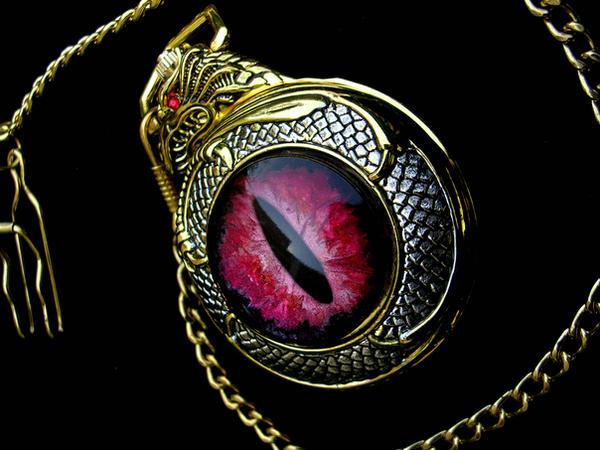 Dragon's Slave - Pocket Watch Red Burgundy Gold by LadyPirotessa