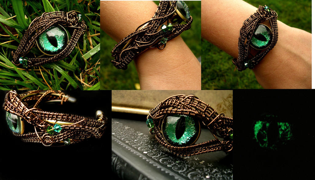 Forest Green Dragon Eye Bracelet Cuff Detail By