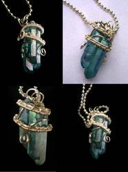 Aqua Aura Crystals - Pendant Silver Sisters Three