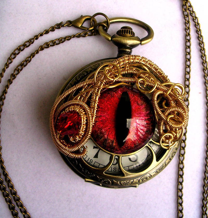 A swirl of fire - Gold Bronze Red Pocket Watch by LadyPirotessa