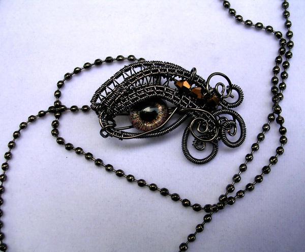 Little Bronze Dragon Eye - Pendant by LadyPirotessa