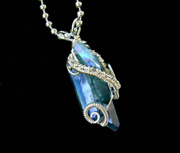 Aqua Aura Crystals - Pendant Silver Sisters Take 3 by LadyPirotessa