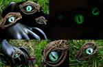 Steampunk Gothic Green Dragon Eye Bronze Wire Set