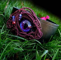 Gothic Choker - Blood Violet Eye - Black Leather