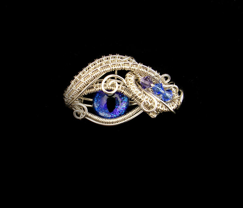 Sterling Silver - Wire Wrapped Water Dragon Eye by LadyPirotessa on ...