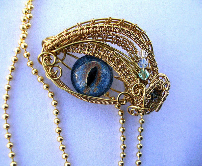 Gold Water Teal Aqua - Sun Dragon Eye Pendant by LadyPirotessa