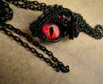 Gothic Black Eye Pendant - Small  Wire Wrapped