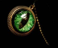 Green Bronze Steampunk Dragon Eye Necklace by LadyPirotessa