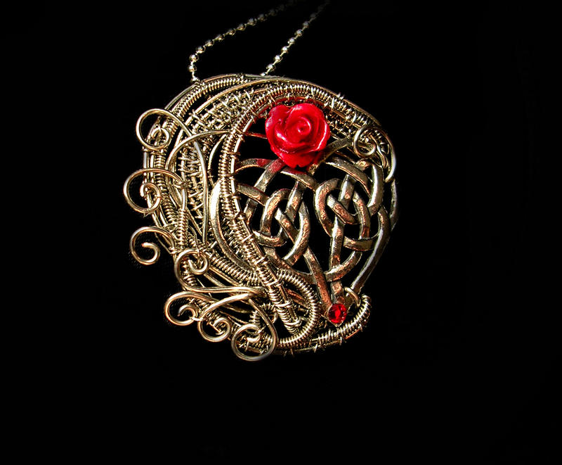 Wire Wrapped - Celtic Heart - Red Rose Swirls by LadyPirotessa