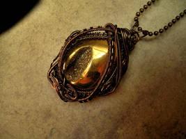 Bronze Wire Wrapped - Golden Druzi Pendant by LadyPirotessa