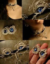 Rainbow Peacock Wire Wrapped Eye Jewelry Set