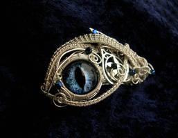 Dark Sapphire Dragon Eye - Barrette Clip by LadyPirotessa
