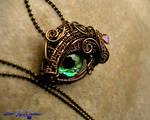 Prismatic Green - Bronze Dragon Eye Dewdrop