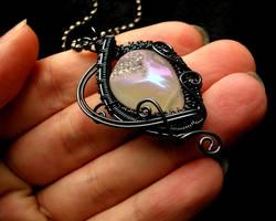 Moon Goddess Drusy Druzy Pendant Smoke Wire by LadyPirotessa