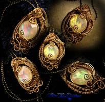 Angel's Omen Pendant - Brass Gold Fauz Opal by LadyPirotessa