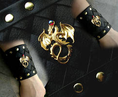 Leather Cuff Bracer - Gold Dragon with Red Accent by LadyPirotessa