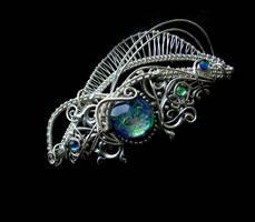 Victorian Barrette - Color Shifting Blue Silver 2 by LadyPirotessa