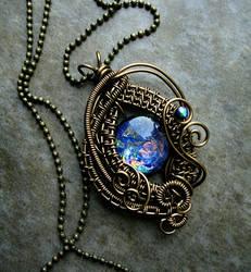 Blue Ocean - Bronze Wire Wrapped Opal Like Pendant