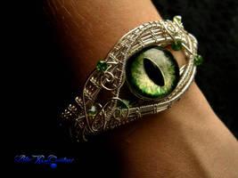 Custom Bracelet - Green Dragon Eye Silver Wire by LadyPirotessa