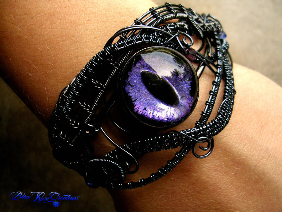 Wire Wrapped Dragon Eye Bracelet - Violet Black by LadyPirotessa